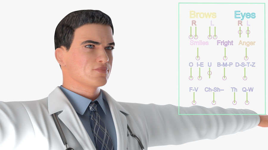 Male Doctor Rigged royalty-free 3d model - Preview no. 6
