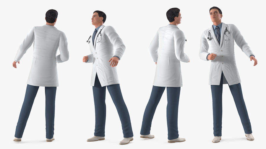 Male Doctor Rigged royalty-free 3d model - Preview no. 7