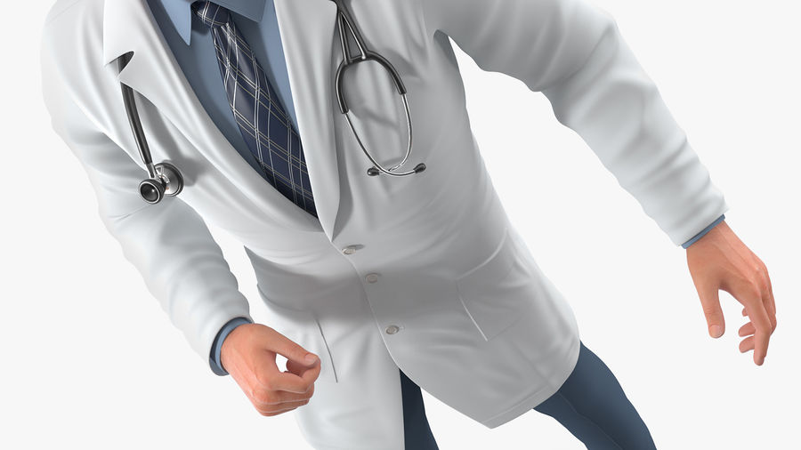 Male Doctor Rigged royalty-free 3d model - Preview no. 11