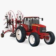 Traktor med begagnad tvillingroterande generisk parkerad 3d model