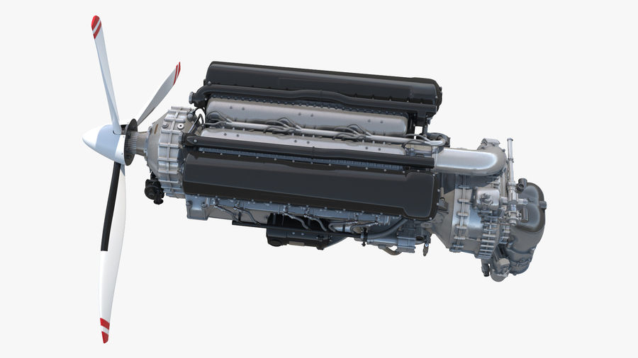 Silnik tłokowy V12 Aero royalty-free 3d model - Preview no. 7