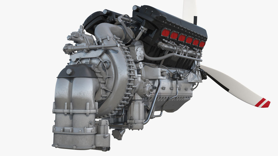 Silnik tłokowy V12 Aero royalty-free 3d model - Preview no. 6