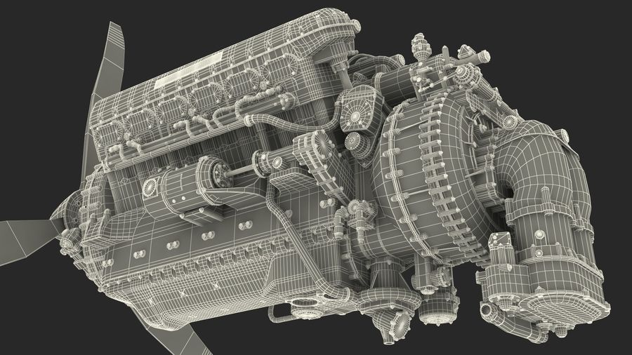 Silnik tłokowy V12 Aero royalty-free 3d model - Preview no. 17