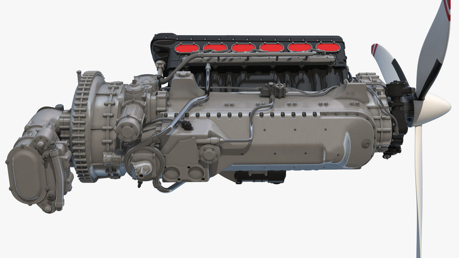 Silnik tłokowy V12 Aero royalty-free 3d model - Preview no. 5