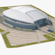 Stadion z parkingiem 3d model