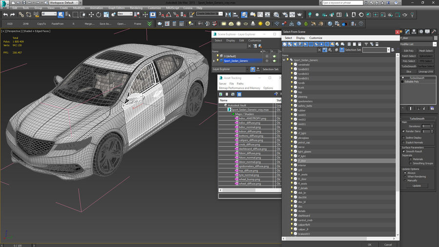 Sport Sedan Generic royalty-free 3d model - Preview no. 25