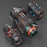 Sci Fi Mega Elements KITBASH - SUBDIVISION READY - pack 1 3d model