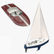 Sailboat and Motorboat 3d model