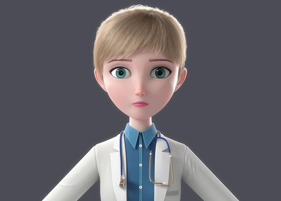 Cartoon Doctor Rigged royalty-free 3d model - Preview no. 4