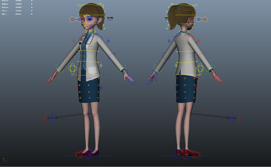 Cartoon Doctor Rigged royalty-free 3d model - Preview no. 25