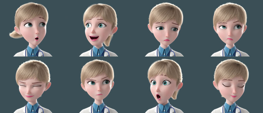 Cartoon Doctor Rigged royalty-free 3d model - Preview no. 2