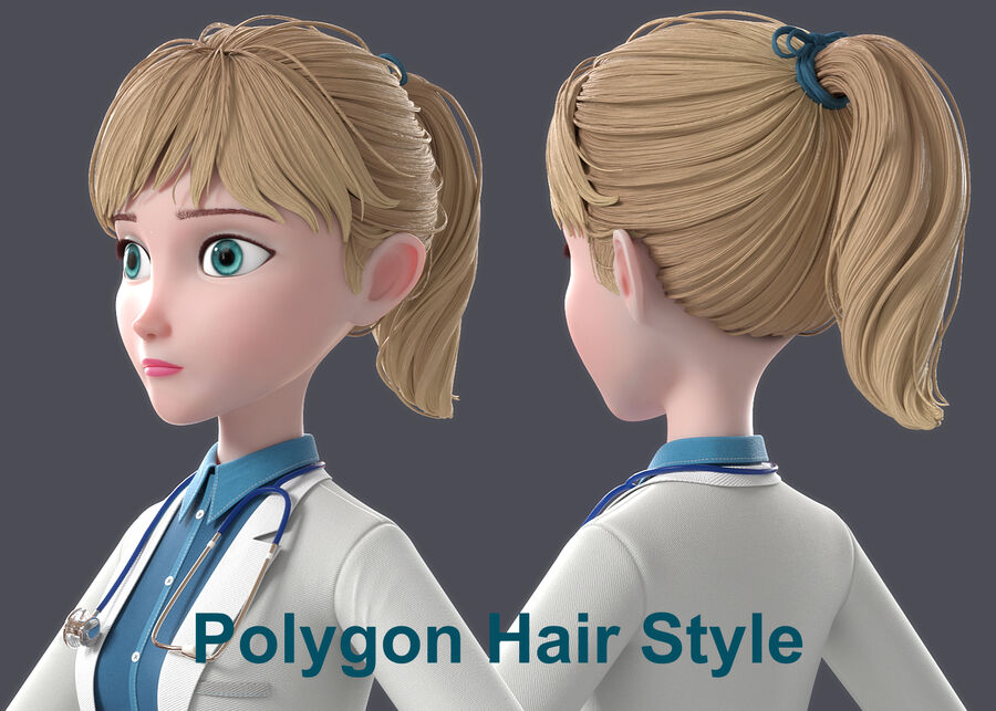 Cartoon Doctor Rigged royalty-free 3d model - Preview no. 14