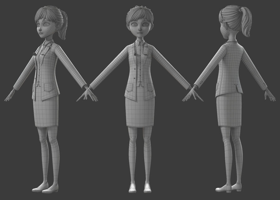 Cartoon Doctor Rigged royalty-free 3d model - Preview no. 23
