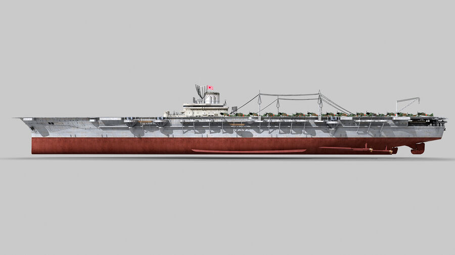 Japanese aircraft carrier Taiho royalty-free 3d model - Preview no. 12