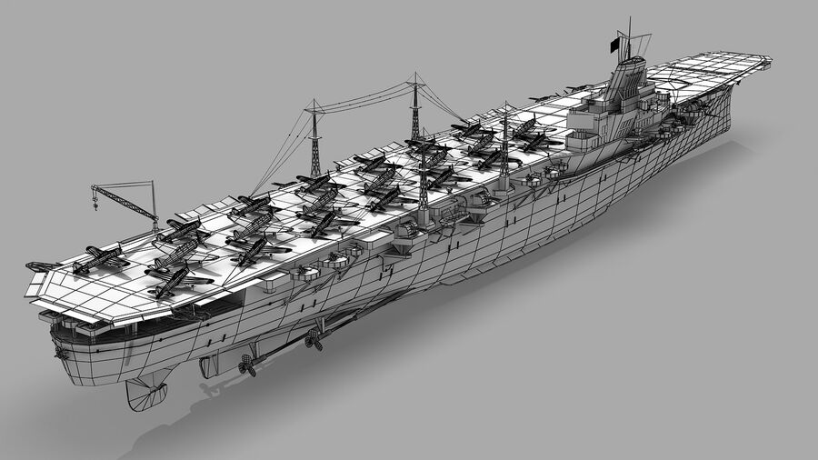 Japanese aircraft carrier Taiho royalty-free 3d model - Preview no. 14