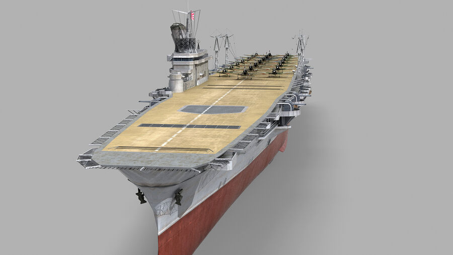 Japanese aircraft carrier Taiho royalty-free 3d model - Preview no. 4