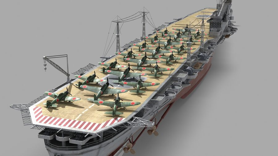 Japanese aircraft carrier Taiho royalty-free 3d model - Preview no. 6