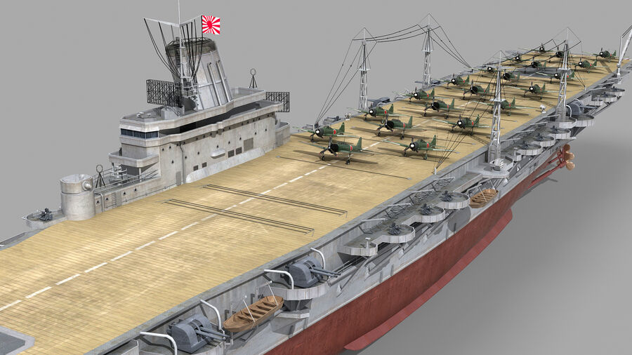 Japanese aircraft carrier Taiho royalty-free 3d model - Preview no. 7