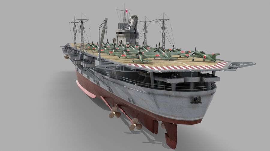 Japanese aircraft carrier Taiho royalty-free 3d model - Preview no. 5