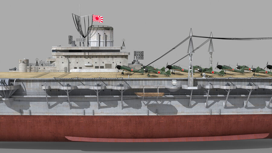 Japanese aircraft carrier Taiho royalty-free 3d model - Preview no. 8