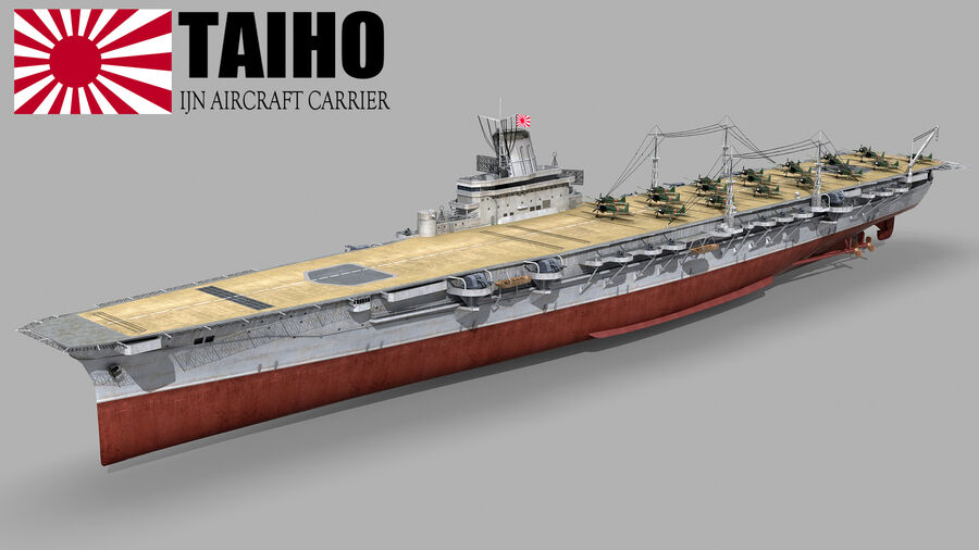 Japanese aircraft carrier Taiho royalty-free 3d model - Preview no. 2