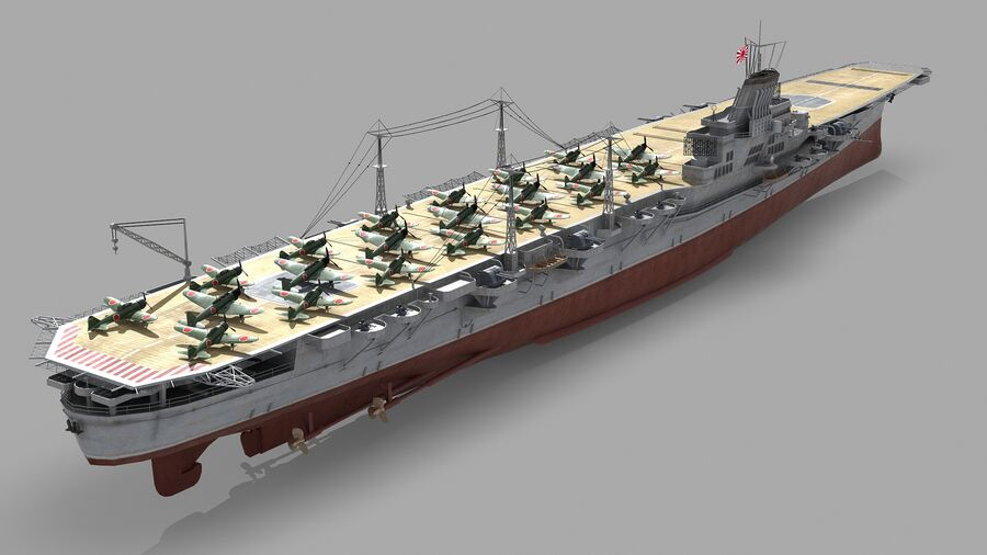 Japanese aircraft carrier Taiho royalty-free 3d model - Preview no. 1