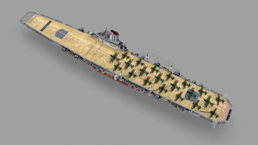 Japanese aircraft carrier Taiho royalty-free 3d model - Preview no. 11