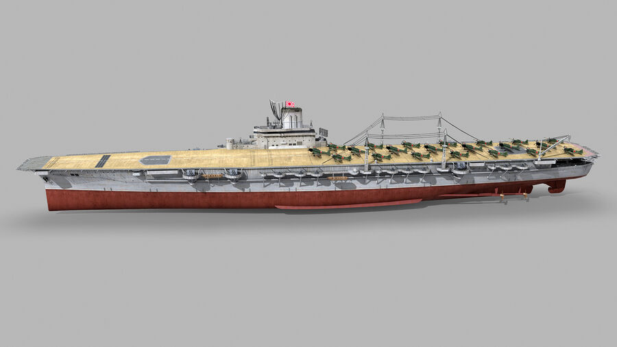 Japanese aircraft carrier Taiho royalty-free 3d model - Preview no. 3