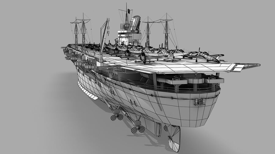 Japanese aircraft carrier Taiho royalty-free 3d model - Preview no. 16