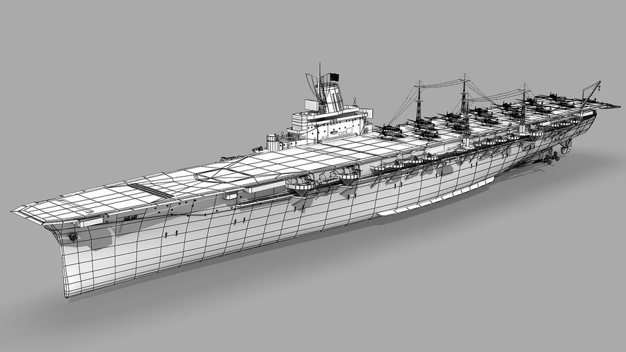 Japanese aircraft carrier Taiho royalty-free 3d model - Preview no. 13