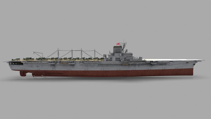 Japanese aircraft carrier Taiho royalty-free 3d model - Preview no. 10