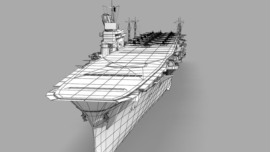 Japanese aircraft carrier Taiho royalty-free 3d model - Preview no. 15