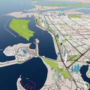 Город Абу-Даби с аэропортом и зданиями 3d model
