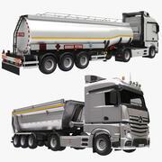 Camión volquete y camión cisterna modelo 3d