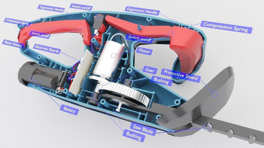 Bateria do aparador de sebes de baixa polimerização interna (2) royalty-free 3d model - Preview no. 2