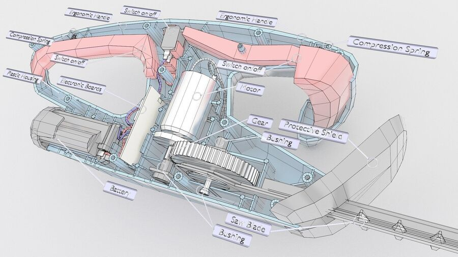 Bateria do aparador de sebes de baixa polimerização interna (2) royalty-free 3d model - Preview no. 5