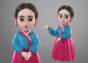 Cartoon coreano Hanbok Girl modello 3d attrezzato 3d model