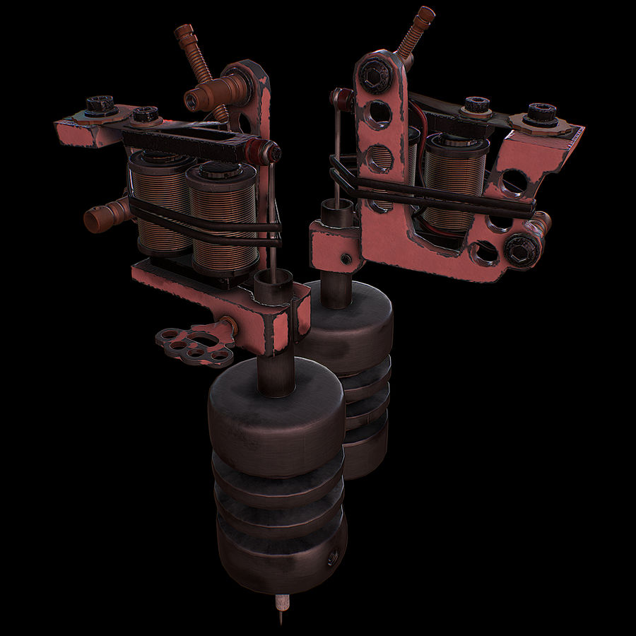 Tattoo machine royalty-free 3d model - Preview no. 1