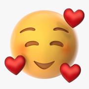 Gülümseme Emoji yürekleri 3d model