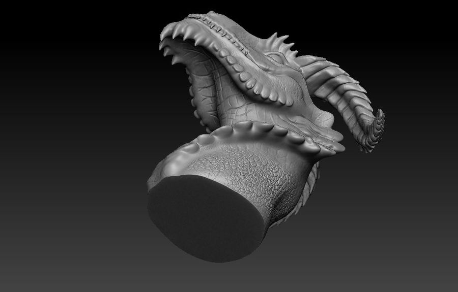 dragon bust royalty-free 3d model - Preview no. 8