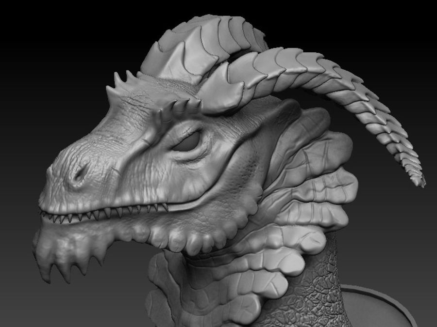 dragon bust royalty-free 3d model - Preview no. 3
