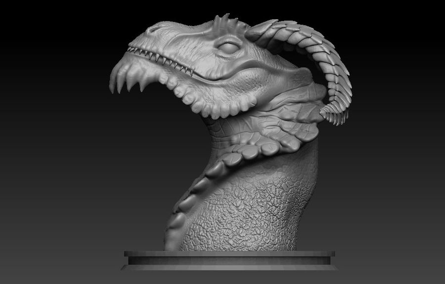 dragon bust royalty-free 3d model - Preview no. 4