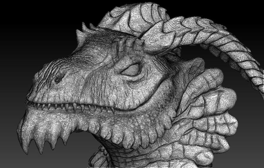 dragon bust royalty-free 3d model - Preview no. 9