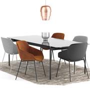 Boconcept - Sedia Vienna + Tavolo Augusta 3d model