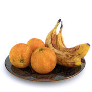 Plate with oranges and bananas 3d model