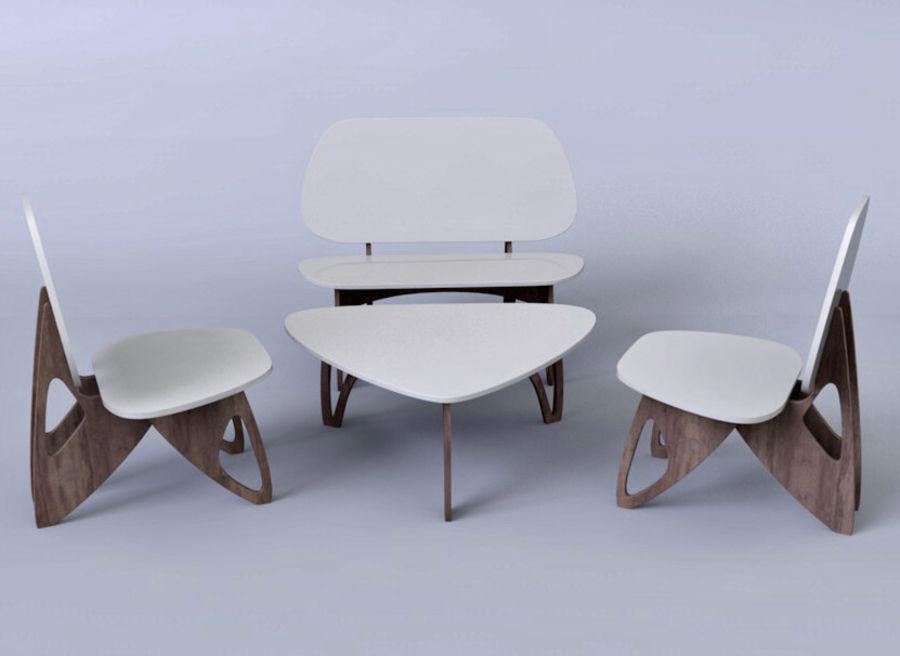 3M Muebles silla sillón mesa royalty-free modelo 3d - Preview no. 2