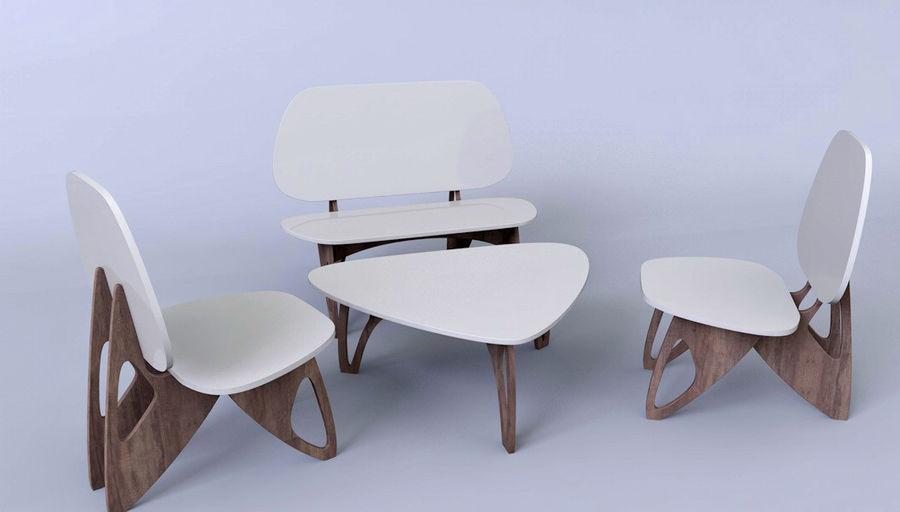 3M Muebles silla sillón mesa royalty-free modelo 3d - Preview no. 4