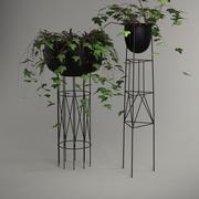 钢丝篮植物架 3d model