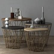 Ferm Living制作的铁丝网篮和边桌-黄铜 3d model