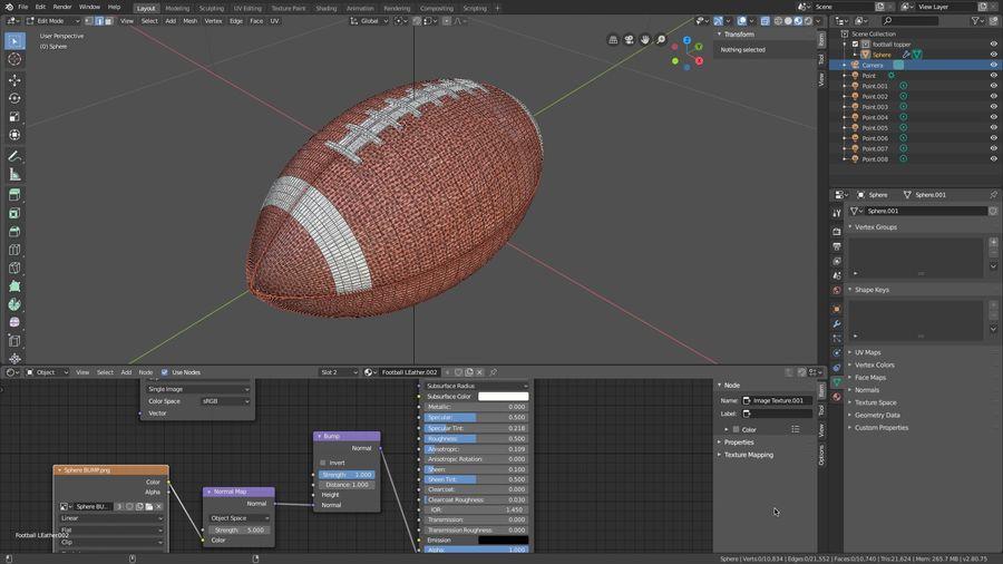 американский футбол royalty-free 3d model - Preview no. 6